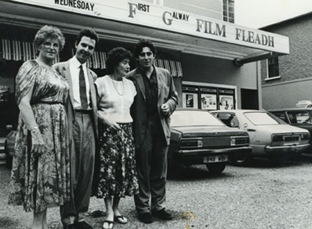 Ronnie Masterson, Christopher Young, Lelia Doolan and Gabriel Byrne at the first Galway Film Fleadh (1989)
