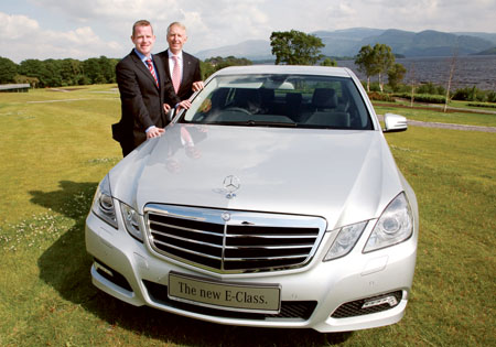 Pictured at the launch in Killarney is Ian Moore (left) from Mercedes-Benz main dealers, Michael Moore Car Sales, Athlone. With him is Mercedes-Benz chief executive Stephen Byrne