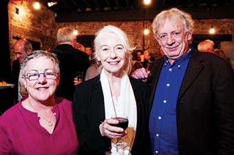 Together again: Druid founders Garry Hynes, Maire Mullen and Mick Lally at the opening of the newly refurbished Druid Lane Theatre on Friday evening. (Photo Reg Gordon)