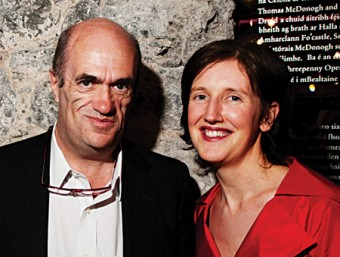 Opening night: Award winning writer Colm Tóibín officially opened the refurbished Druid Theatre last Friday, prior to a performance of Tom Murphy's The Gigli Concert. With the writer is Druid's marketing manager Sinead McPhillips. (Photo Reg Gordon)