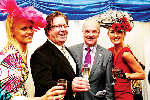 RTE Presenter Gerry Ryan and Anthony Ryan, the Best Dressed Lady sponsors, pictured with Best Dressed Winner Mary Therese Mc Donnell  and Best Hat Winner Sinead Purcell.