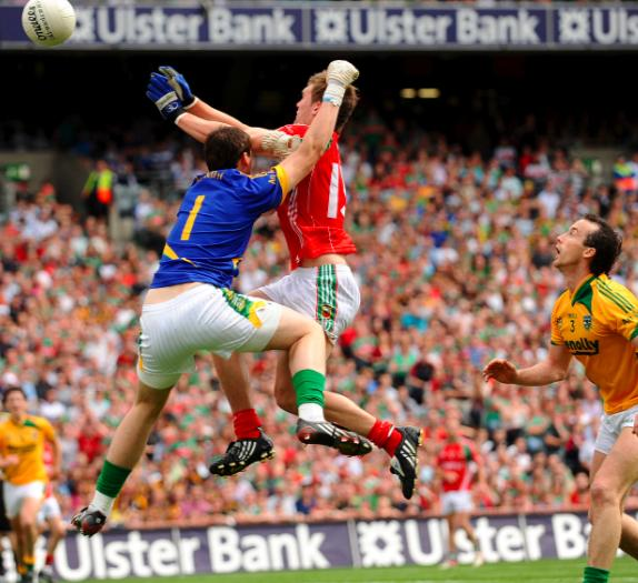 Back of the net: Aidan O'Shea score's Mayo's only goal in Croke Park against Meath: Photo:Sportsfile.