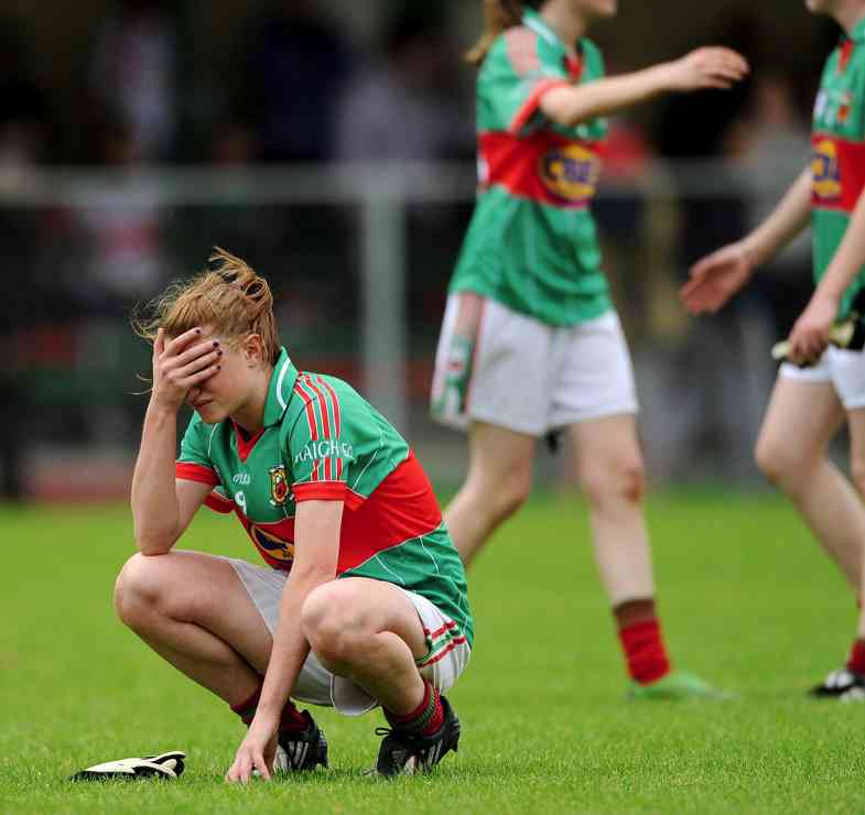 The agony of defeat: Mayo's Aileen Gilroy is dejected at the end of Sunday's All Ireland U16 A Shield final. Photo: Sportsfile.