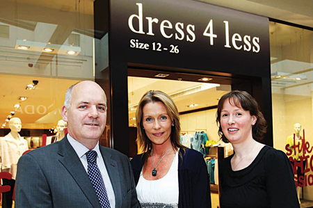 Pictured outside the newest store in Athlone Towncentre, Dress 4 Less which offers stylish ladieswear in sizes 12-26 are Michael Flanagan, operations manager , Athlone Towncentre; Eileen Hyland, Dress 4 Less, and Shirley Delahunt, marketing manager, Athlone Towncentre.