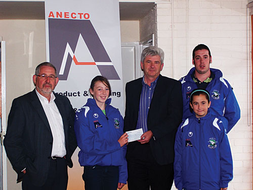 Frank Cashman, CEO Anecto, presents Lisa Casserly with sponsorship for Colga Girls u-14 Umbro Cup final to be played in Terryland Park on Sunday at 3pm. Also pictured are Liam Maher of sponsors Anecto, u-14 player Alana Moran, and coach David Morrissey.