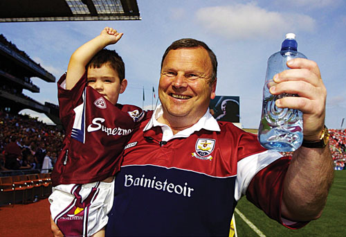 Mattie Murphy and his grandson after 2005 All-Ireland victory. Will Galway eyes be smiling again this Sunday?