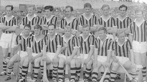 1967 All-Ireland Senior Hurling Champions - Kilkenny Front Row (l to r) - Martin Coogan, Martin Brennan, Seamus Cleere, Jim Treacy (Capt.), Jim Bennett, Paddy Moran, Tom Walsh.  Back Row (l to r) - Ted Carroll, Pat Henderson, Claus Dunne, Eddie Keher, John Teehan, Pat Dillon, Jim Lynch, Ollie Walsh.