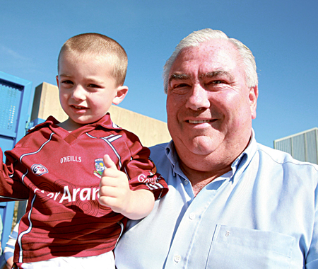 The recently appointed Galway senior football team manager Joe Kernan with Enna Monaghan of Claregalway at Tuam Stadium on Sunday. Photo:- Mike Shaughnessy