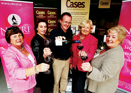 Members of the National Breast Cancer Research Institute fundraising finance and planning committee with Peter Boland of Cases Wine at the launch of Cases Wine Christmas wine fair. From left: Mairin Clancy, Ethelle Fahey, Peter Boland (Cases Wine Warehouse), Patricia Caffrey (chairperson, NBCRI finance and planning committee), and Johanna Downes. Photo: Aengus McMahon.