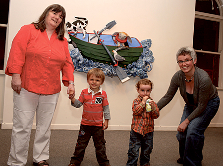 Pictured at the official opening of The Owl and the Pussycat to launch RoolaBoola by artists Cathy Hack and Gráinne O'Reilly in the Linenhall Arts Centre; Castlebar, from left: Maura Connolly, administrator, Linenhall Arts Centre and her nephew Peter Northime, (Belfast); Con Naughton and Orla Henihan, arts access officer Linenhall Arts Centre. Photo: Michael Donnelly.