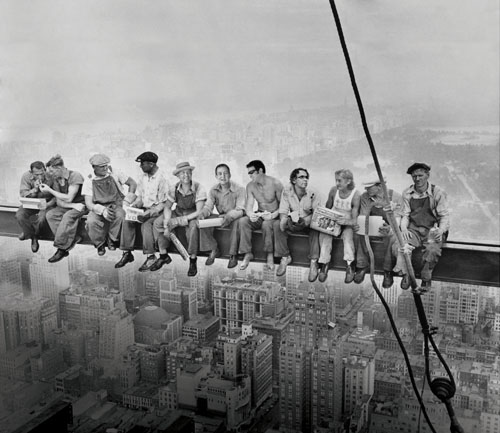 Friends in high places — the Saw Doctor-ed version of the famous Charles Ebbets photo.