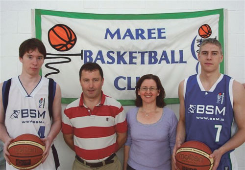 Ready for a new beginning:  Maree Basketball Club player Liam Conroy,  Maurice Hannon (BSM), Úna Finn (club chairperson), and Darren Callanan (captain) at the launch of the Maree men's National League strip.