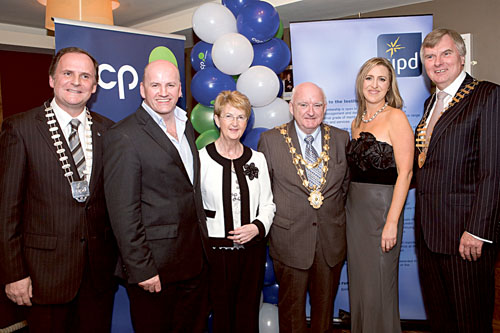 At the Annual CIPD Dinner Dance, sponsored by CCP Recruitment, in the Clayton Hotel were Declan Heneghan, Chairperson, CIPD Western Region, Guest Speaker Sean Gallagher, SmartHomes, Mary McDonnell and Mayor Declan McDonnell, Roisin McNamara, CCP Recruitment and Paul Shelly, President, Galway Chamber of Commerce. Photos Martina Regan.