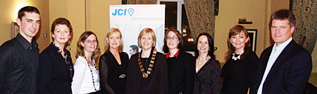 Keith Farrell of sponsors Base Design; Mairin O'Reilly of sponsors MOR Public Relations; Orla Roche of sponsors Roche Accounting; judge Fiona Neary of sponsors Ignite Technology Transfer; JCI President Brenda Gannon;  judge Grainne Finn of sponsors RDJ Glynn Solicitors; judge Mary Giblin of JCI Galway; Evelyn Cormican of sponsors Blueprint Coaching; and judge Mark Gibbs of sponsors DHKN Corporate Finance Ltd. Missing from photo are sponsors Galway Advertiser and Snap Printing, John Lalor, Patrick Brennan, James Cunningham, and  Marie Mitchell.
