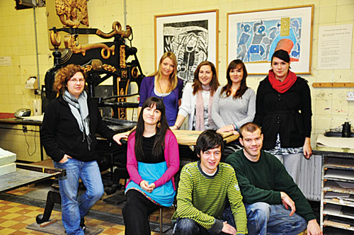 Some of the GMIT fine art printmaking students from Cluain Mhuire, who are showing their work at a prestigious London exhibition, l-r, Agata Derda, Laura O'Malley, Aisling Carragher, Jennifer McCauley, Genevieve O'Brien. Front, Aoife Bheilbigh, Niall Cunningham, and Conal Cary.
