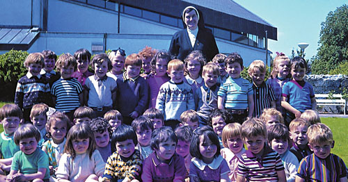 Those sunny days of the 1970s — the infant class pictured with Sr Celestine in the mid 1970s.