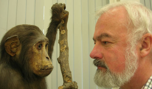 Professor Arthur and a human's nearest animal relative at the Martin Ryan Institute Museum, NUI Galway.