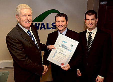 Pictured left to right are Declan O'Connor BQAI; Des Hanniffy, quality manager Walsh Waste; and Gerard Walsh, Walsh Waste.