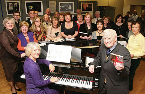 The Augustinian Choir with leaders Pat Lillis and Sonny Molloy at the launch of the Augustinian Choir's new CD in the Ciy Museum on Tuesday. Photo:-Mike Shaughnessy