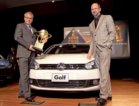 Pictured is Volkwagen Golf at the presentation of the World Car of the Year 2009 award earlier this year. Last week, it added the Continental Irish Family Car of the Year 2010 award. And great news for cat buyers - the new Golf has just has a 10 per cent price cut and ESP added as standard.