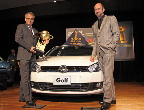 Pictured is the Volkwagen Golf at the presentation of the World Car of the Year 2009 award earlier this year. It has now added the Continental Irish Family Car of the Year 2010 award. And great news for car buyers - the new Golf has a 10 per cent price cut and ESP added as standard.