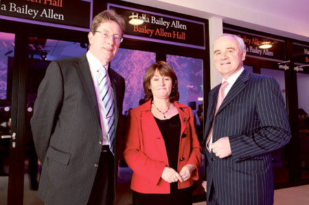 President of NUI Galway, Dr James J Browne. Dorothy Pilkington, niece of the late Angela Allen, and Tom Joyce, CEO of the Galway University Foundation at the opening ceremony of the new Bailey Allen Wing at NUI Galway.