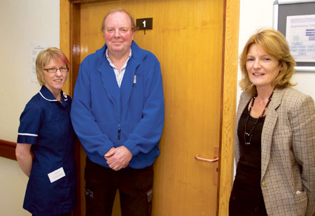 Assistant director of nursing Michelle Kayley, contractor Graham Baker, and Noleen Sheridan at St.Francis Hospital in Ballinderry. Photo: Thomas Gibbons