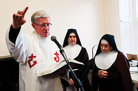 Bishop of Galway Dr Martin Drennan blesses the newly refurbished extern convent at the Poor Clares celebration day on Nuns Island on Sunday afternoon. Photo: Reg Gordon