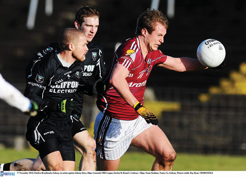 Leitir Mor captain Fiachra Breathnach in action for Galway in Sunday's opening Connacht FBD League game against Sligo at Tuam Stadium. 		 Picture: Ray Ryan / SPORTSFILE