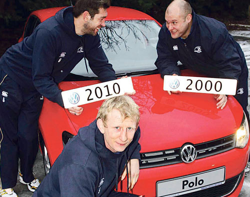 Leinster Rugby captain Leo Cullen (front) and fellow forwards, (l-r) Nathan Hines and CJ Van der Linde line-out for Volkswagen to announce details of its scrappage offers. Some  95 per cent of the range qualifies for scrappage offers.