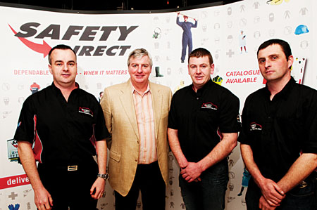 Safety Direct's Alan Fair, broadcaster and rally driver Michael Lyster, Enda O'Leary and Neil Pierce pictured at the press launch of the Galway Rally. Photo: Reg Gordon