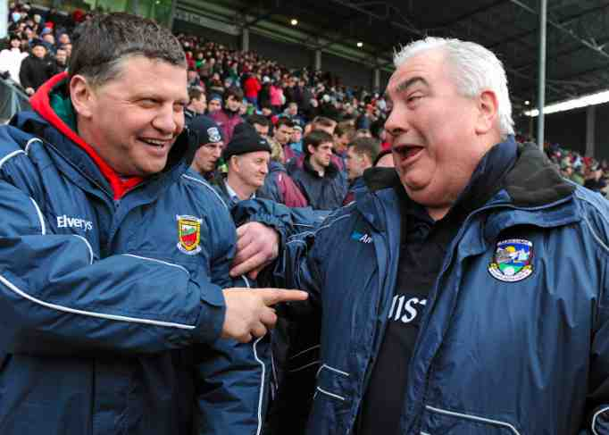 Welcome to Castlebar: John O'Mahony shares a joke with Joe Kernan ahead of Mayo's win over Galway in the National Football League. Photo: Sportsfile