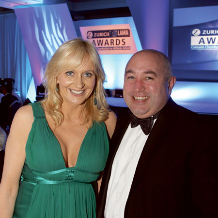 Miriam O'Callaghan MC at the LAMA event and Kevin Ryan, judge and sponsor of the event, and CEO of Satellite Broadband Ireland.