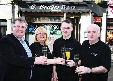 E.Brún Bar, Dominick Street team (l-r) Tom McDonagh, Siobhan Conneely, Jonathon Conneely, and Pat Murray. Photo:-Mike Shaughnessy
