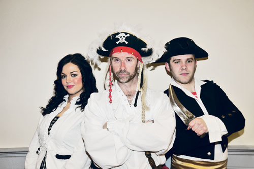 Lisa English who plays the part of Maybel; Alfie Kilduff, The Pirate King; and Alan Greaney who plays Frederick are all set for The New Pirates of Penzance production