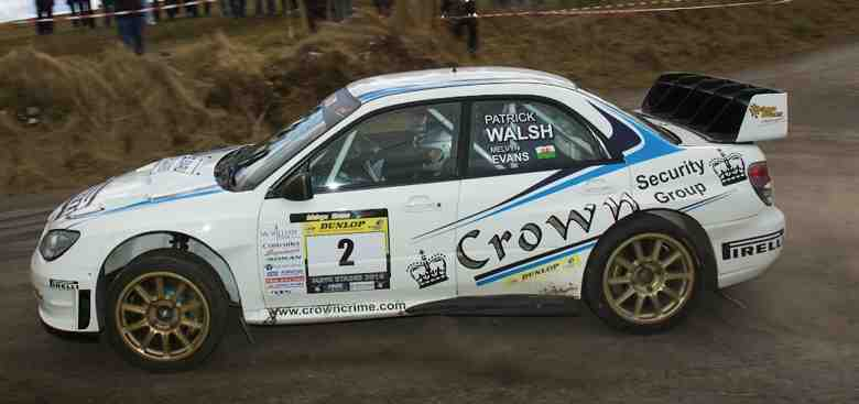 On the road to victory: Melvyn Evans on the road to winning the Mayo Stages Rally.