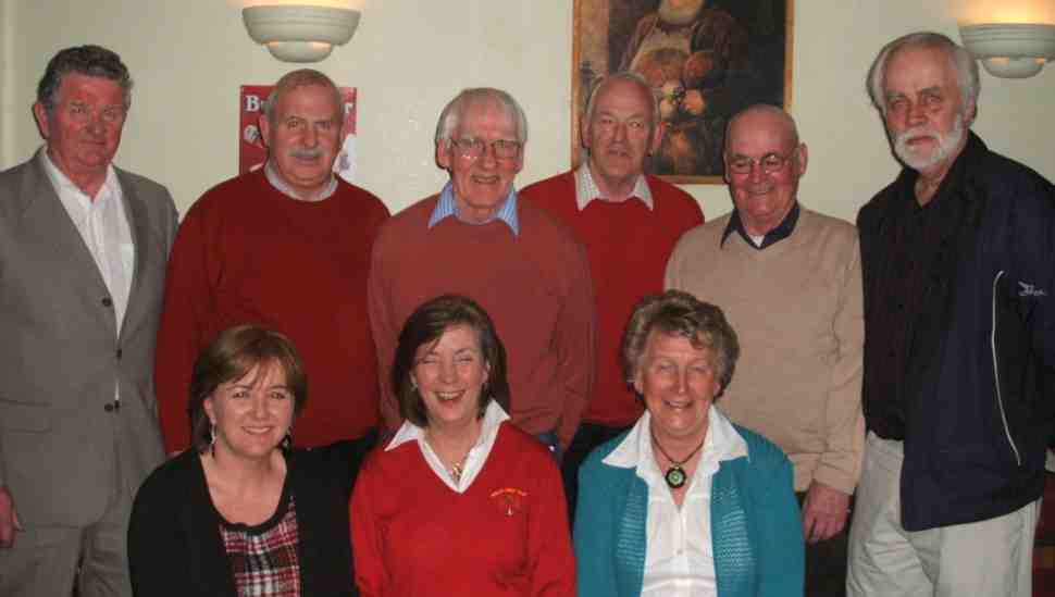 Waltzing winners: The winners of the waltz competition in Balla Golf Club. Back row: Michael Neary, John Parsons, Michael Gannon, Oliver Moran, John O'Connor, and Bob Leggett. Front row: Carmel Costello, Pat Dillon, and Breege Moran.