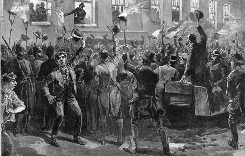 Capturing the mood: This Illustrated London News artist caught the excitement of the midnight meeting at Woodford when William O'Brien MP burnt the Government proclamation.