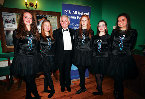Harry Smith, honorary secretary, RTE All Ireland Drama Festival 2010 pictured with some of the  members of Fuinneamh Irish Dance Group who performed at The Little Theatre Athlone as one of the many festival fringe events  Pictured are: Mr Smith, Sinead MacCarrick, Aoibhin McDaid, Eimear MacCarrick, Niamh McGrane, and Melissa Maloney.