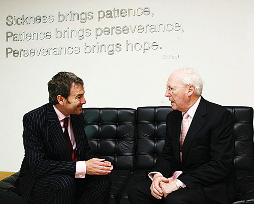 Jimmy Sheehan, Galway Clinic chief executive pictured chatting with Padraic O Maille.    Photo: Mike Shaughnessy