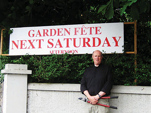Rev Gary Hastings prepares for the annual St Nicholas' garden fete.
