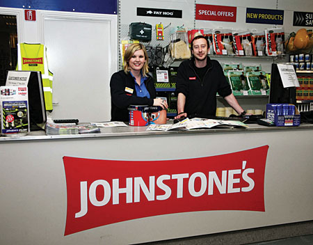 Mary-Ann Jordan, store manager, with Gary Dolan of Johnstone's decorating centre, Tuam Road. Photo: Mike Shaughnessy.