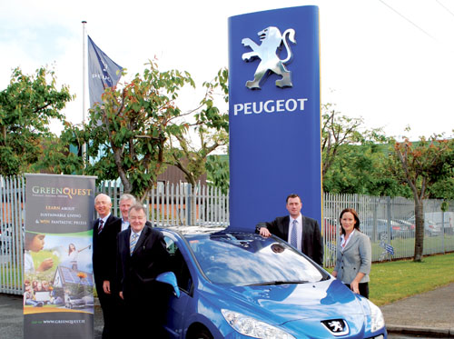 Pictured at the launch of GreenQuest.ie are from left to right: Padraic Larkin, Tom Canavan, and Martin Heneghan, founders of GreenQuest; Mark Hayes, marketing manager at Gowan Distributors Limited, Peugeot Importers in Ireland; and Emma Toner, communications manager, Gowan Distributors Limited.