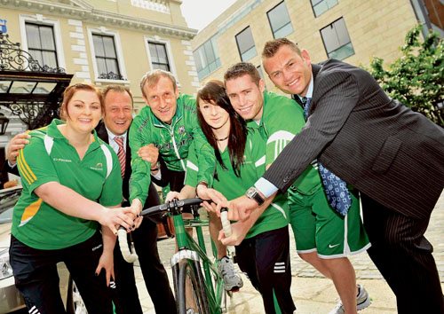 Pictured at the announcement of Renault Ireland becoming the official title sponsor of the 2012 Irish Paralympic Team were (L-R): Orla Barry (seated discus athlete), Eric Basset (MD Renault Ireland), Michael Delaney (tandem cyclist), Ellen Keane (swimming), Jason Smith (athletics), and Julien LeLorrain (marketing director, Renault Ireland).