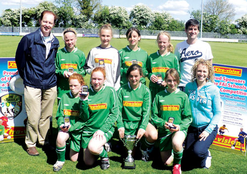 The girls soccer team: Pictured are:  (Back) Sean Holian, Ciara Murphy, Rebecca Callanan, Carol Daly, Niamh Murphy and Timmie Glavey.  (Front) Katie Joyce, Roisin Leen, Saoirse Burke (captain), Annika Lipsius and Elaine Glavey.