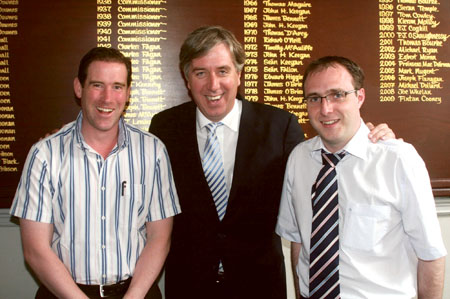 Cllrs Aidan Davitt and Robert Troy pictured with CEO of the FAI John Delaney in Mullingar on Monday.