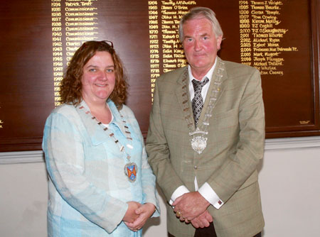 Newly elected cathaoirleach Cllr Mick Dollard and leas-cathaoirleach Gabrielle McFadden received their chains of office at Monday's AGM of Westmeath County Council.