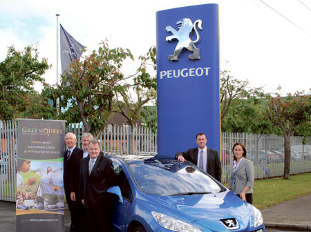 Pictured at the launch of GreenQuest.ie are from left to right: Padraic Larkin, Tom Canavan and Martin Heneghan, founders of GreenQuest; Mark Hayes, marketing manager at Gowan Distributors Limited, Peugeot Importers in Ireland; and Emma Toner, communications manager of Gowan Distributors Limited.