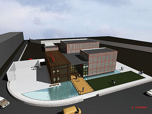 Bird's eye view of the proposed new arts centre.