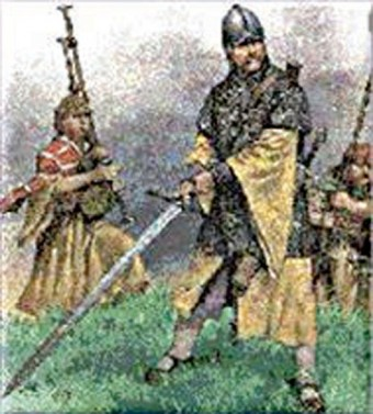 Warriors for hire: The galloglas were well armoured and feared. Their favourite weapons were the broadsword,  and double sided axe. They were available when sufficient soldiers could not be raised among the population of the Irish lordships.